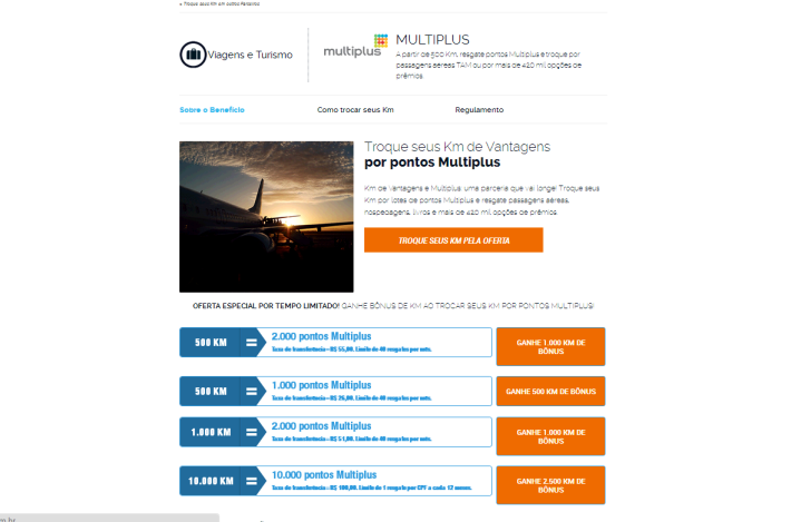 Site Km de Vantagens - Parceiro Multiplus